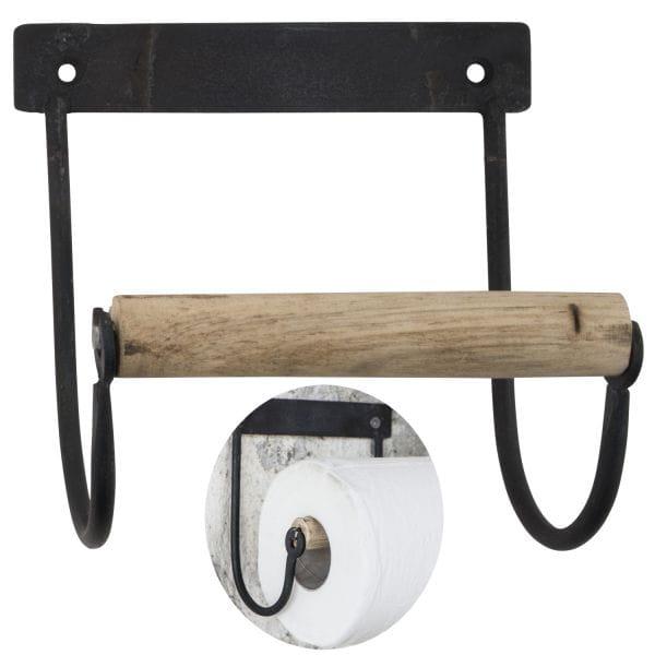 Metall Toilettenpapierhalter Schwarz Holzrolle Braun Altum Vintage