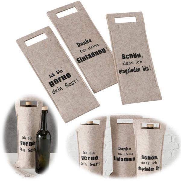 3x Filz Flaschentüte Braun Spruch Tragegriff Set Flaschentasche Weinflasche