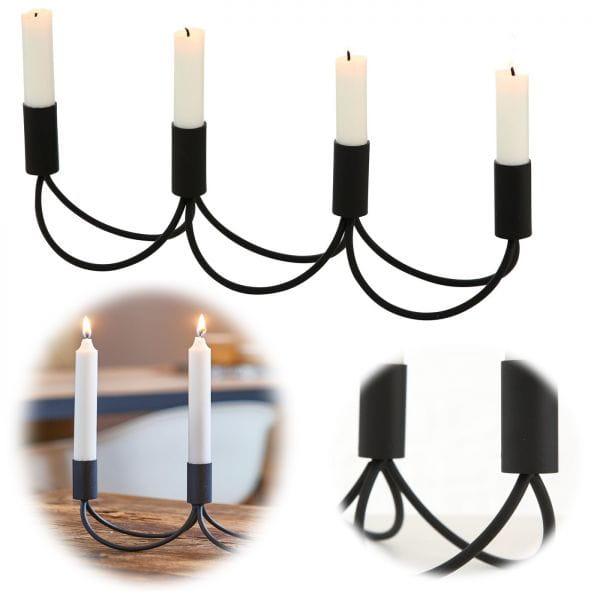 Kerzenständer Metall Schwarz 40cm 4-fach Kerzenhalter Kerzenleuchter