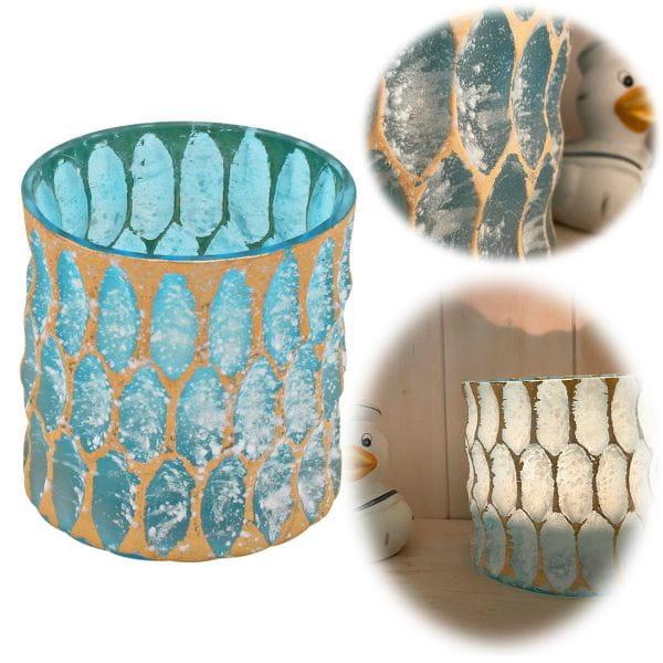 Exklusives XL Teelichtglas 10cm Crystal Blau Gold Teelichthalter Windlicht