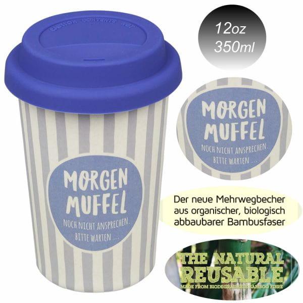 Öko Coffee to Go Trink-Becher 350ml Morgen Muffel Blau Weiß Bamboo Bambus Cup