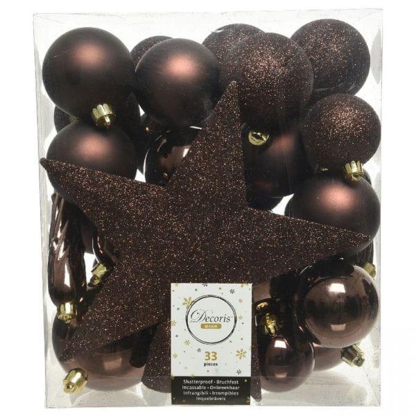 33 Christbaumkugeln Kunststoff Braun Spitze Stern Weihnachtskugeln