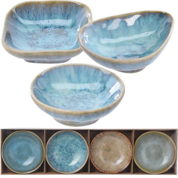 Keramik Tapas-Schalen 12-fach Rund Oval Eckig Snackschale Olivenschale