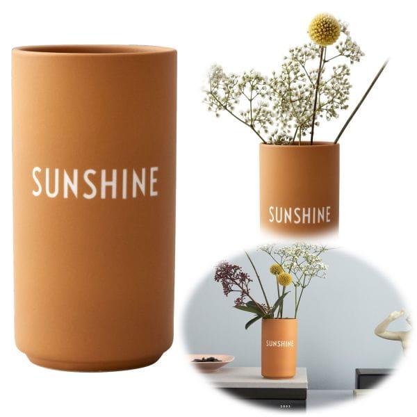 AJ Tischvase 11cm Sunshine Orange Design Letters Blumenvase Deko Väschen