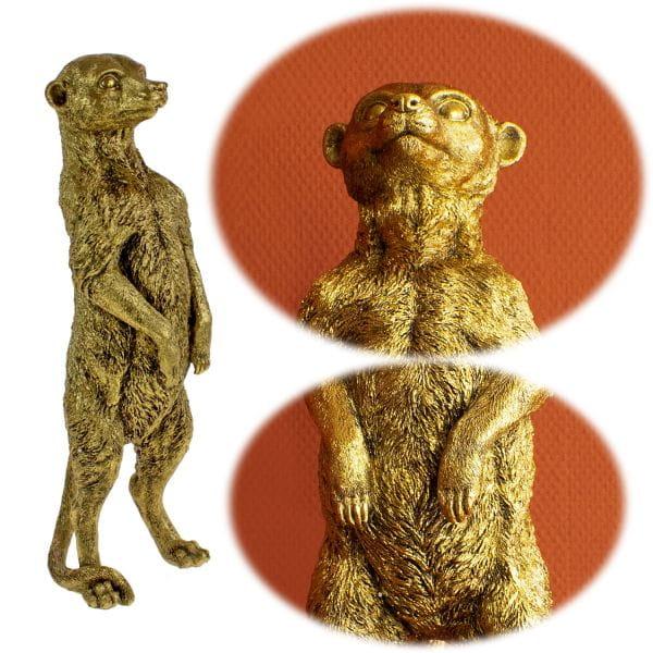 Exklusive Deko Figur Erdmännchen Fred 47cm Gold Stehend Statue Objekt Skulptur