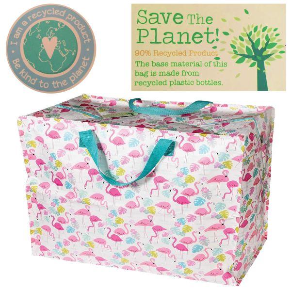 XXL Jumbo Bag Flamingo Rosa Weiß Recycled Allzwecktasche Einkaufstasche