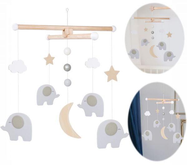 JaBaDaBaDo Holz Mobile Elefant Grau Weiß T267 Baby Kinder-Zimmer