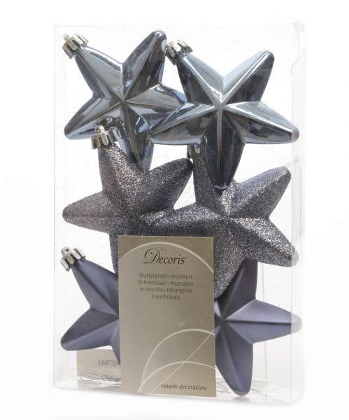 6x XL Weihnachts-Stern Jeans Blau 7,5cm Fenster-Hänger Hänge-Deko