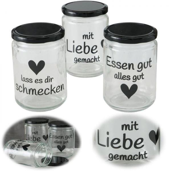 3´er Set Glas Vorratsglas 500ml Mit Liebe Glasbehälter Vorratsdose Deckel