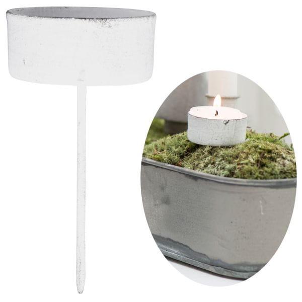 Metall Teelicht-Halter Spieß Weiß 7,5x4,1cm Kerzen-Ständer Leuchter