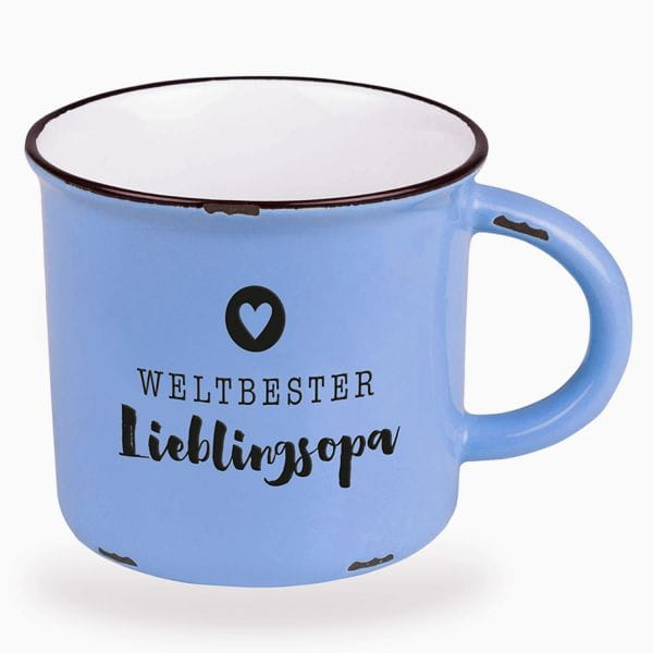 Kaffeebecher 470ml Vintage Lieblings Opa Blau Emaille-Look Kaffeetasse