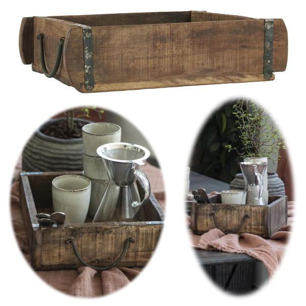 Holz Ziegelform Unika 30x25x8cm 1-fach Aufbewahrung-Box Cutlery Deko
