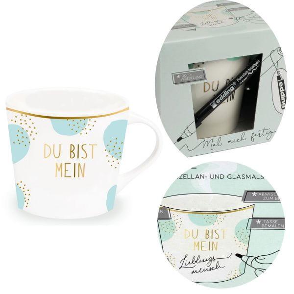 Kaffeebecher zum Bemalen 420ml Echt-Gold Du bist .. Create your Own