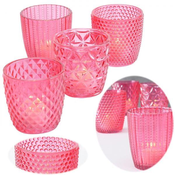 4´er Set Glas Teelichthalter Retro Rosa Pink 7cm Teelichtglas Windlicht-Halter