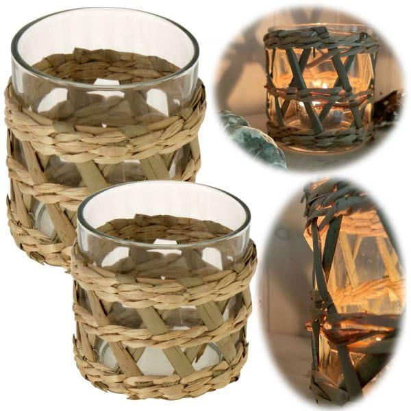 Exklusives 2´er Set Teelichtglas Sylt Natur Teelichthalter Windlicht