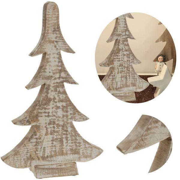 Deko Holz-Baum Weihnachtsbaum 28cm Braun Weiß Tannenbaum Dekoration X-Mas