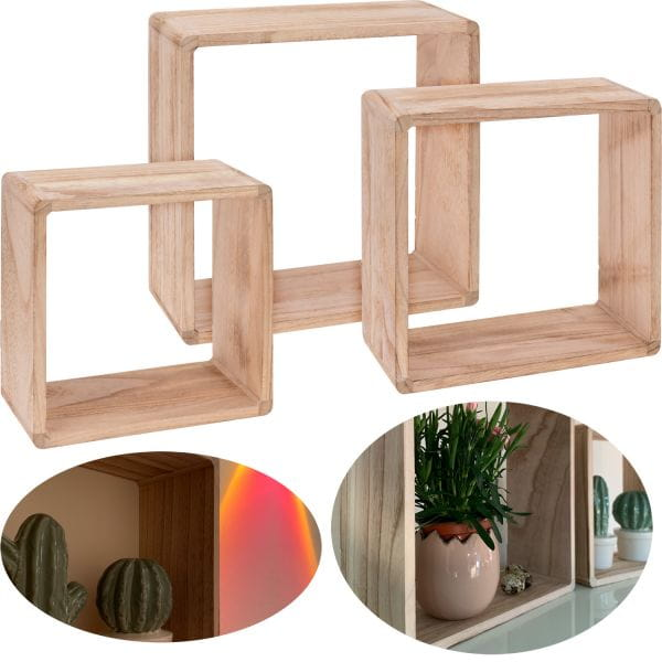 Cube Holz Regal Set 3teilig Quadrat Lounge Wand-Regal Hängeregal Setzkasten