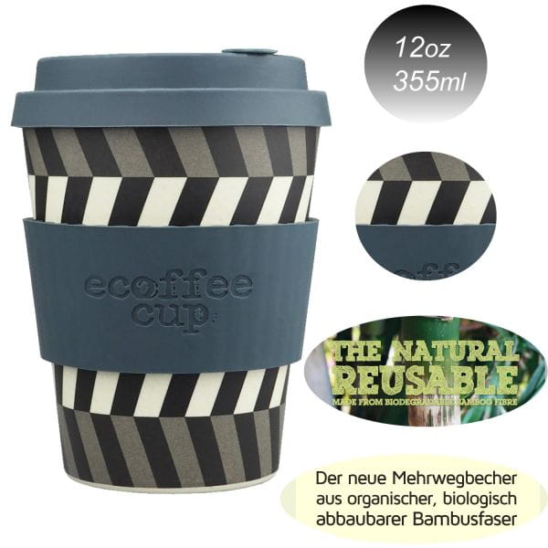 Ecoffee Cup 355ml Eyes Braun Weiß Bambus Coffee to Go Becher Bamboo