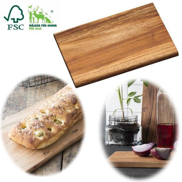 Frühstücksbrett Essbrettchen 23cm FSC Akazien-Holz Küchenbrett Schneidebrett