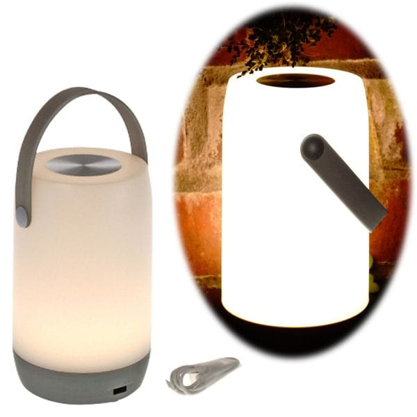 LED Touch Gartenlaterne 19cm Weiß Grau Dimmbar Camping-Leuchte Windlicht