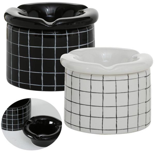 Keramik Sturmaschenbecher 10x7cm Weiß Quadrat Wind-Aschenbecher
