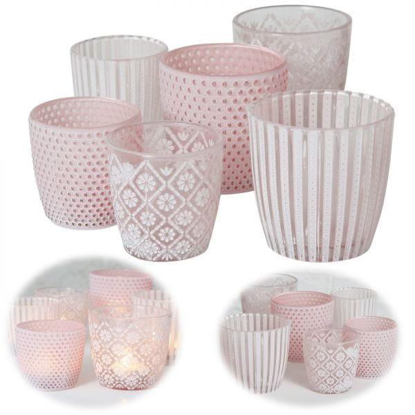 6 Glas Teelichthalter Set Retro Shabby Rosa 7-9cm Teelichtglas Windlicht-Halter