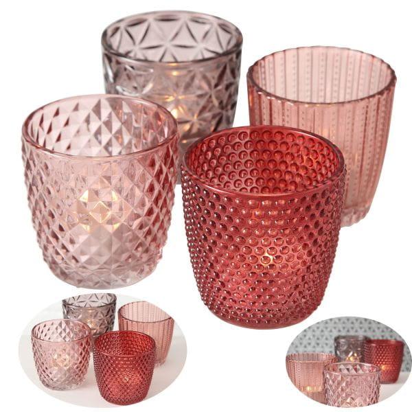 4´er Set Glas Teelichthalter Retro Rosa Rose 7cm Teelichtglas Windlicht-Halter