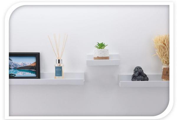 Wandregal Set 2-fach Weiß 2 Regale Küchen-Regal Bücher Wand-Board