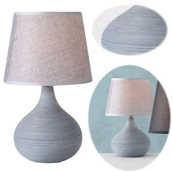 Tischlampe Keramik Kugel Grau Creme 31cm Tischleuchte Nachttischlampe