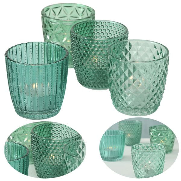 4´er Set Glas Teelichthalter Retro Petrol 7cm Teelichtglas Windlicht-Halter