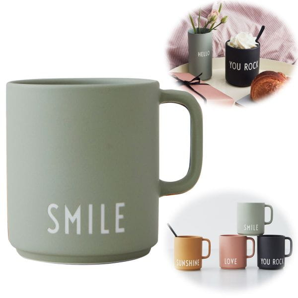 AJ Porzellan Kaffeebecher Smile Grün Design Letters Henkel Kaffeetasse Deko Becher