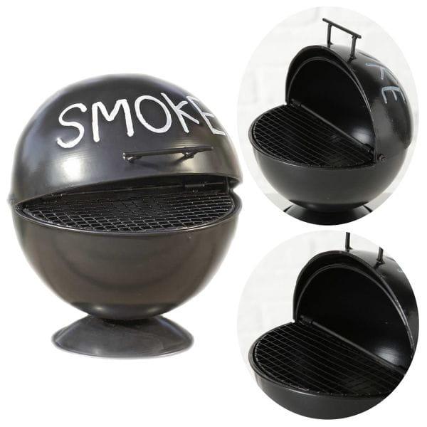 Sturmaschenbecher BBQ-Grill Smoke Schwarz 15cm Windaschenbecher Ascher