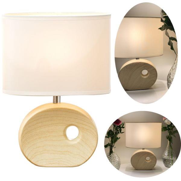 Tischlampe Tischleuchte 30cm List Hell-Braun Nachttischlampe Lampe