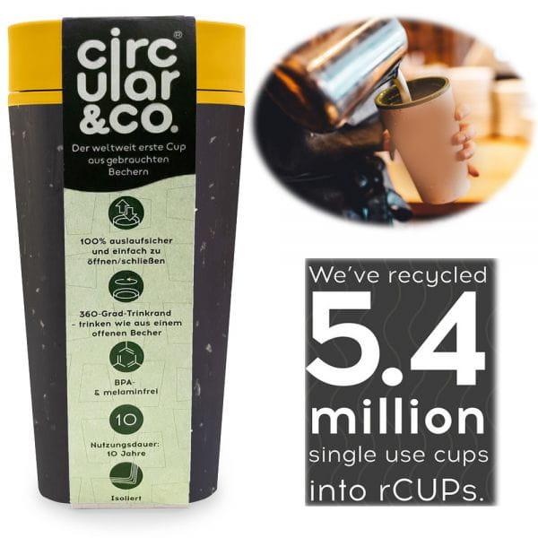 CIRCULAR CUP Coffee to Go Becher 340ml Schwarz Gelb Kaffeebecher Tee