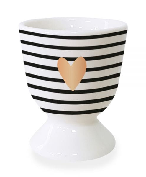 Gute Laune Eierbecher Symbol Herz Schwarz Weiß Echt-Gold Eierhalter