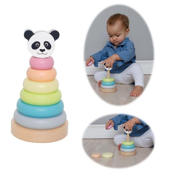 JaBaDaBaDo Holz Stapelturm Panda Kinder Ringpyramide Stapelspiel W7156