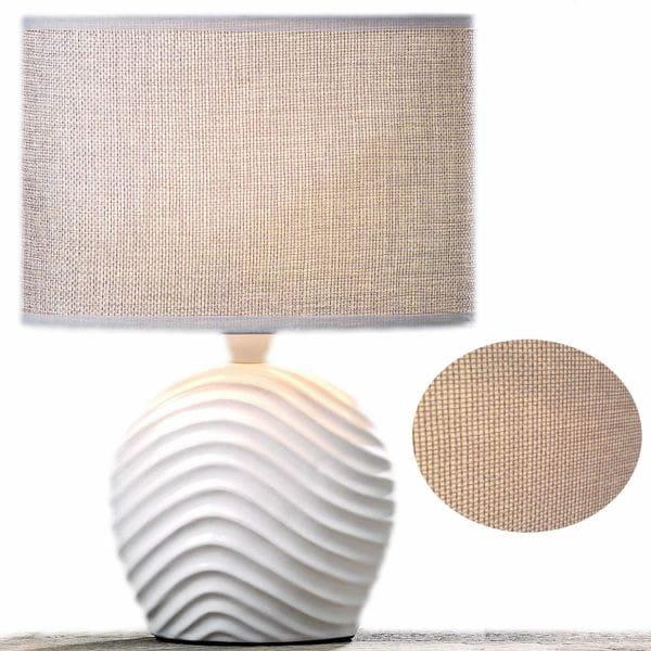 Tischlampe Keramik Sylt Welle Weiß 28cm Tischleuchte Nachttischlampe
