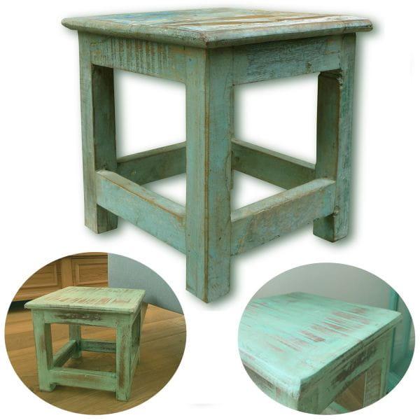 Vintage Holz Fußhocker Tritthocker Türkis 26cm Schemel Fußbank Bänkchen