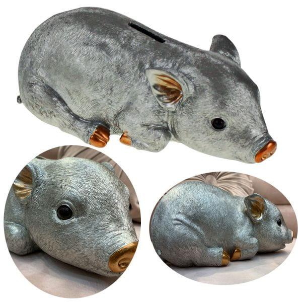 Spar-Schwein Polyresin Silber Grau 24cm Deko Spardose Sparbüchse