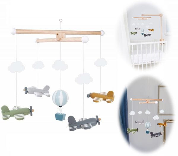 JaBaDaBaDo Holz Mobile Flugzeug Blau Grün Grau T274 Baby Kinder-Zimmer