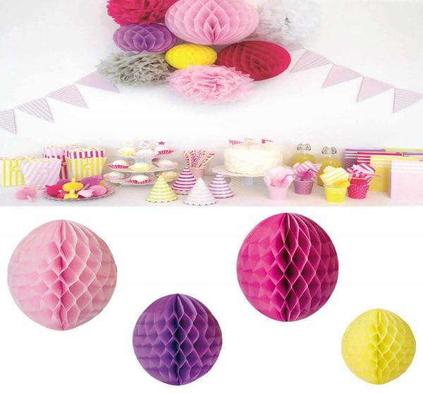 JaBaDaBaDo 4 Wabenball Rosa Pink 21-36cm Papier-Kugel Honeycomb Z17155