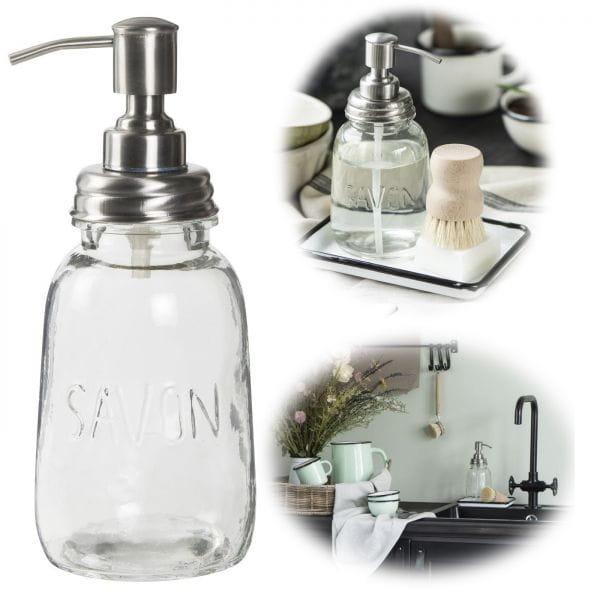 Glas Seifenspender 500ml Silber Klar 20,5cm Dispenser Seifenpumpe
