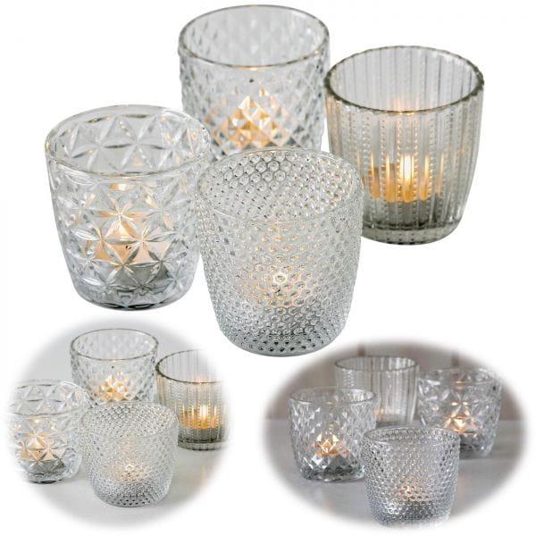 4´er Set Glas Teelichthalter Retro Weiß Klar 7cm Teelichtglas Windlicht-Halter
