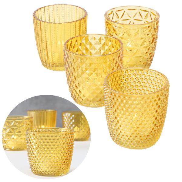 4´er Set Glas Teelichthalter Retro Gelb 7cm Teelichtglas Windlicht-Halter