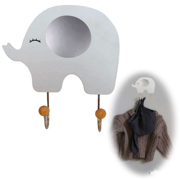 JaBaDaBaDo Holz Kinder Kleiderhaken 19cm Elefant Grau Garderobe R16044