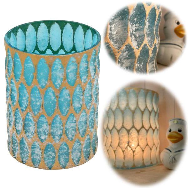 Exklusives XL Teelichtglas 15cm Crystal Blau Gold Teelichthalter Windlicht