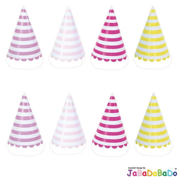 JaBaDaBaDo 8 Party Hüte Streifen Lila Pink Rosa Gelb Geburtstag Party Z17124