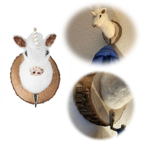 Garderobenhaken Einhorn Echt-Holz Filz 17cm Kinder Wandhaken Wand-Garderobe