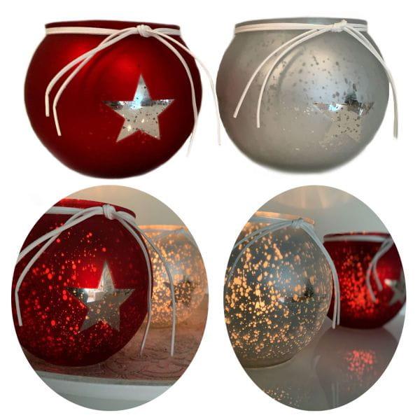 XL 2x Glas Windlicht Rot Silber Stern 13cm Set Teelicht-Halter Deko