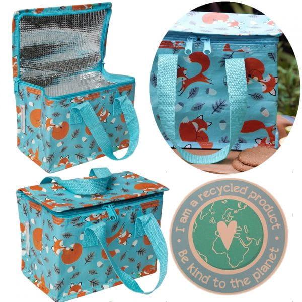 Vintage Kinder Kühltasche Fuchs Blau Braun Thermotasche Öko recycled Lunchbag